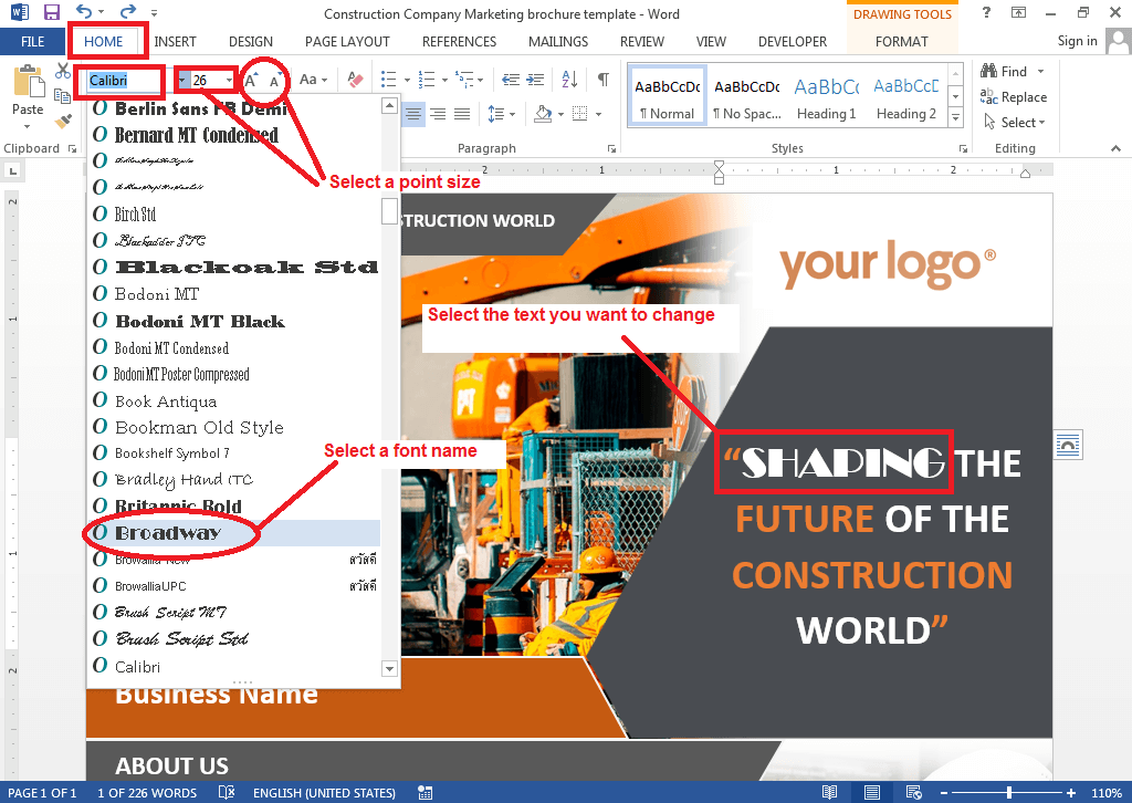 Change the Font of text